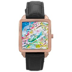Art Abstract Abstract Art Rose Gold Leather Watch