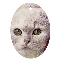 Cat Pet Cute Art Abstract Vintage Ornament (oval)