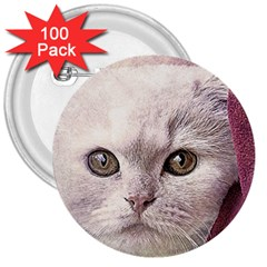 Cat Pet Cute Art Abstract Vintage 3  Buttons (100 Pack)