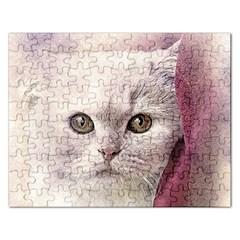 Cat Pet Cute Art Abstract Vintage Rectangular Jigsaw Puzzl