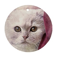 Cat Pet Cute Art Abstract Vintage Round Ornament (two Sides)