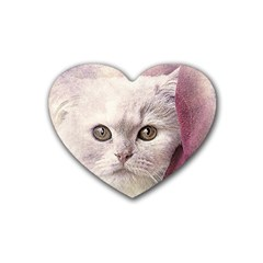 Cat Pet Cute Art Abstract Vintage Heart Coaster (4 Pack)
