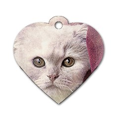 Cat Pet Cute Art Abstract Vintage Dog Tag Heart (two Sides)