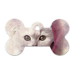 Cat Pet Cute Art Abstract Vintage Dog Tag Bone (one Side)