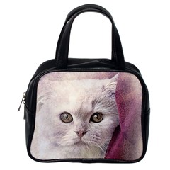 Cat Pet Cute Art Abstract Vintage Classic Handbags (one Side)