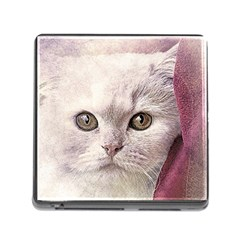 Cat Pet Cute Art Abstract Vintage Memory Card Reader (square)