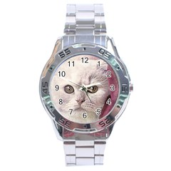 Cat Pet Cute Art Abstract Vintage Stainless Steel Analogue Watch