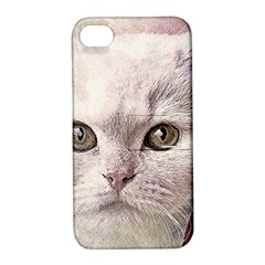 Cat Pet Cute Art Abstract Vintage Apple Iphone 4/4s Hardshell Case With Stand