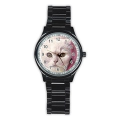 Cat Pet Cute Art Abstract Vintage Stainless Steel Round Watch