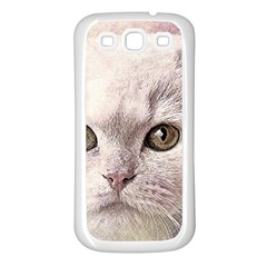 Cat Pet Cute Art Abstract Vintage Samsung Galaxy S3 Back Case (white)
