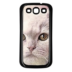 Cat Pet Cute Art Abstract Vintage Samsung Galaxy S3 Back Case (black)