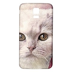 Cat Pet Cute Art Abstract Vintage Samsung Galaxy S5 Back Case (white)