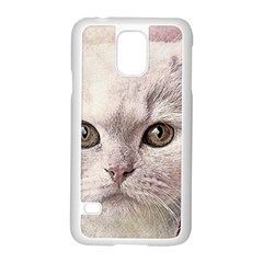 Cat Pet Cute Art Abstract Vintage Samsung Galaxy S5 Case (white)
