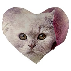 Cat Pet Cute Art Abstract Vintage Large 19  Premium Flano Heart Shape Cushions