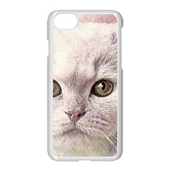 Cat Pet Cute Art Abstract Vintage Apple Iphone 8 Seamless Case (white)