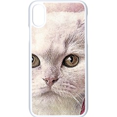 Cat Pet Cute Art Abstract Vintage Apple Iphone X Seamless Case (white)