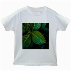 Green Plant Leaf Foliage Nature Kids White T Shirts