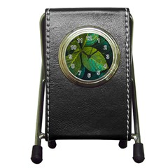 Green Plant Leaf Foliage Nature Pen Holder Desk Clocks