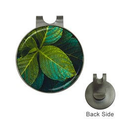 Green Plant Leaf Foliage Nature Hat Clips With Golf Markers by Nexatart