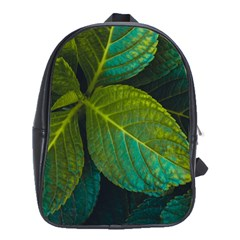 Green Plant Leaf Foliage Nature School Bag (large)