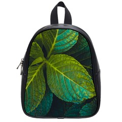 Green Plant Leaf Foliage Nature School Bag (small)