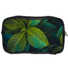Green Plant Leaf Foliage Nature Toiletries Bags 2 Side