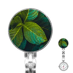 Green Plant Leaf Foliage Nature Stainless Steel Nurses Watch