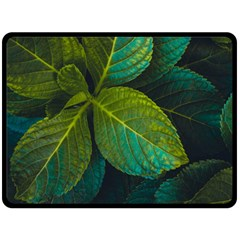 Green Plant Leaf Foliage Nature Double Sided Fleece Blanket (large)