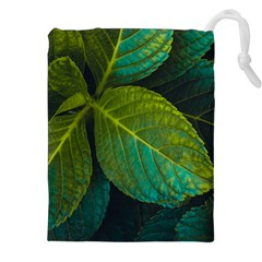 Green Plant Leaf Foliage Nature Drawstring Pouches (xxl)