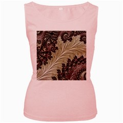 Pattern Decoration Retro Women s Pink Tank Top