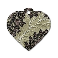 Pattern Decoration Retro Dog Tag Heart (two Sides)