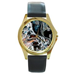 Abstract Flow River Black Round Gold Metal Watch