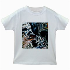 Abstract Flow River Black Kids White T Shirts