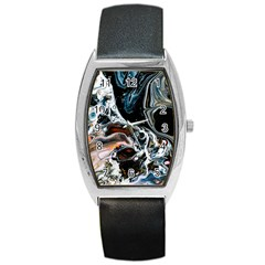 Abstract Flow River Black Barrel Style Metal Watch