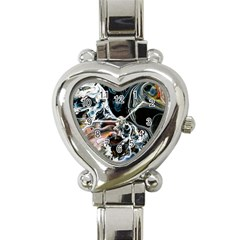 Abstract Flow River Black Heart Italian Charm Watch