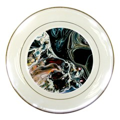 Abstract Flow River Black Porcelain Plates