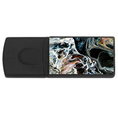 Abstract Flow River Black Rectangular Usb Flash Drive