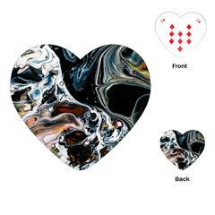 Abstract Flow River Black Playing Cards (heart)