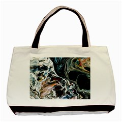 Abstract Flow River Black Basic Tote Bag