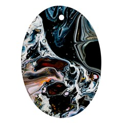 Abstract Flow River Black Oval Ornament (two Sides)