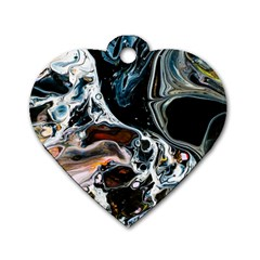 Abstract Flow River Black Dog Tag Heart (one Side)