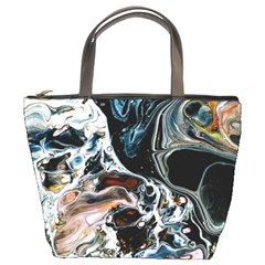 Abstract Flow River Black Bucket Bags