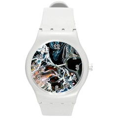 Abstract Flow River Black Round Plastic Sport Watch (m)