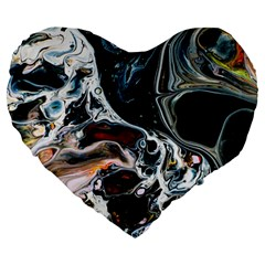 Abstract Flow River Black Large 19  Premium Heart Shape Cushions