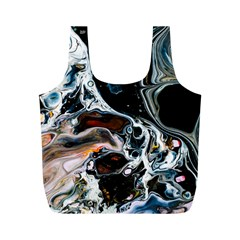 Abstract Flow River Black Full Print Recycle Bags (m)