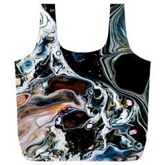 Abstract Flow River Black Full Print Recycle Bags (l)