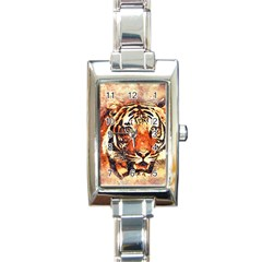Tiger Portrait Art Abstract Rectangle Italian Charm Watch by Nexatart