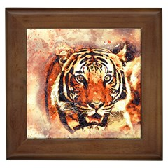 Tiger Portrait Art Abstract Framed Tiles