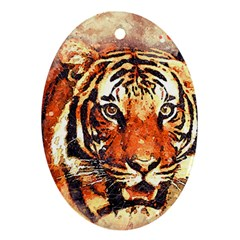 Tiger Portrait Art Abstract Ornament (oval)