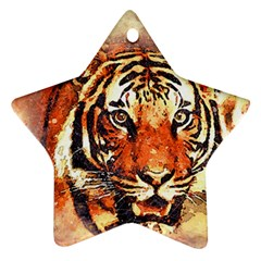 Tiger Portrait Art Abstract Ornament (star)